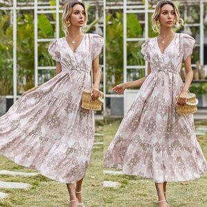 Boho floral print tie waist petal sleeve dress